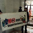 No more deportations protesters outside Sheriff Stanek's office