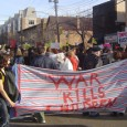 Students march to Army/Navy recruitment center