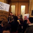Protest outside Governor's office - No tax money for a rich man's stadium