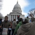 SDS at March 12 protest in Madison (Jacob Flom)