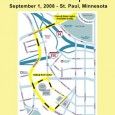 Map showing organizers' planned march route for Sept 1, 2008.