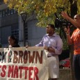 Speakers at Black and Brown solidarity rally.