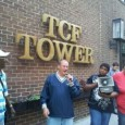 Todd Dahlstrom of SEIU Local 26 speaks at rally in front of TCF Tower