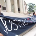 Students demand justice for the Jena 6. Big banner on big steps.