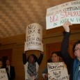 Protesters say no to public money for new Viking's stadium.