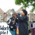 Rosemary Williams speaking at June 30 rally.