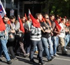 Participants in Greek general strike March.
