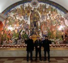 Delegation of U.S. anti war activists at the Great Patriotic War museum metro