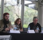Panelists Hassan Shibly (left), Cassia Laham, and Mick Kelly, at Tampa program