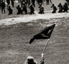 Alan Canfora shortly before National Guard opens fire on May 4, 1970 protest.