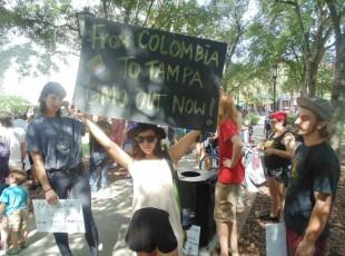 Marisol Marquez of Raices En Tampa demanding Monsanto out of Colombia
