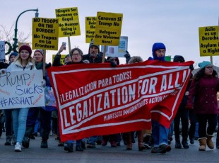 "Minneapolis  protest  against Trump's ""National Emergency"" declaration."