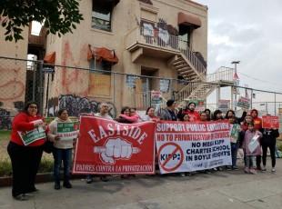 Conferencia de prensa y protesta contra Kipp mega charter en Boyle Heights