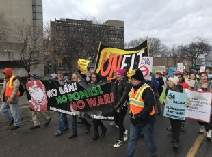 Minneapolis march on one year anniversary of Trump taking power.