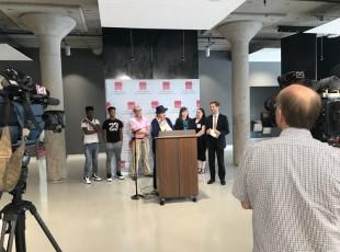Karen Lewis, president of CTU, speaking in support of Sarah Chambers.