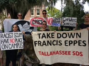 SDS protests honoring slaveholder on campus.