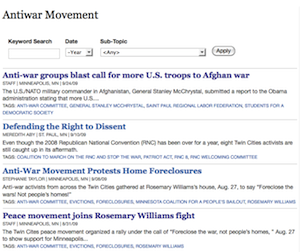 Antiwar Movement department page
