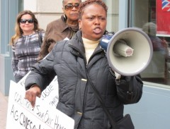 New Jersey protest demands prosecution of predatory lenders.
