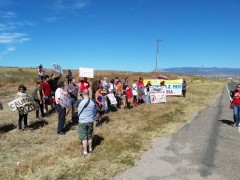 Protesta exigiendo la libertad para SimónTrinidad
