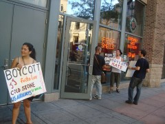 One of the BAM! campaign protests at Jimmy John's in Minneapolis