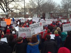 St Paul Federation of Teachers rally at School Board meeting Feb. 18