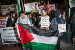 Protest marks 100 years since the signing of the Balfour Declaration.