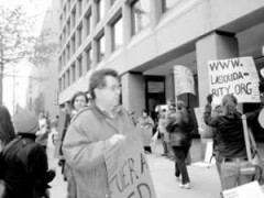 Venezuela Solidarity conference attendees picket NED offices.