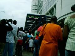 Evacuees waiting in line