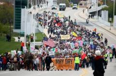 May Day march in Milwaukee, WI