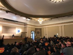 Mass meeting of Teamster Local 705 members.
