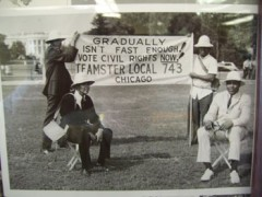 Teamsters from Local 743 in front of the White House, Aug. 28, 1963. Their sign