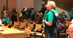 U of MN AFSCME members confront the Board of Regents.