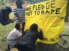 "Students sign the pledge ""not to rape."""