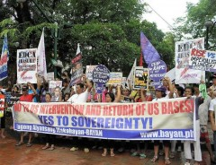 Protest in Philippines against U.S. intervention.