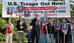 Mick Kelly speaking at April 10 anti war rally in San Francisco