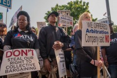 Rally on second day of Milwaukee bus drivers strike.