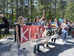 SDS members and others march against the KKK at Stone Mountain, GA