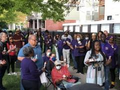 Shadonna Davis speaking at the vigil.