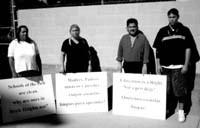 People displaying signs