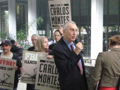 Carlos Montes speaking to supporters outside the LA Superior Court building.