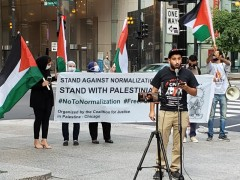USPCN-Chicago co-chair Husam Marajda speaking at Chicago press conference