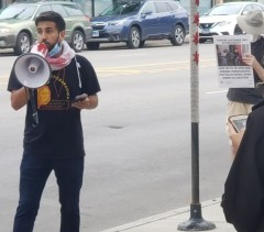Protest at the office of U.S. Rep. Schakowsky.