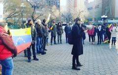 New York protests U.S. intervention in Venezuela.
