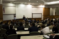 Conor Munro of SDS addresses the Student Senate.