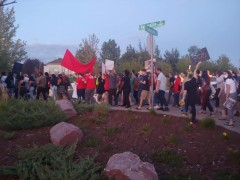 Protestors marching in Aurora, CO.