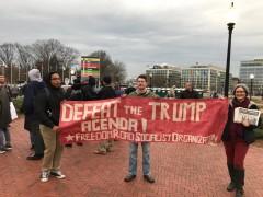 FRSO banner in Washington DC anti-Trump protest