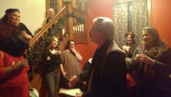 Mick Kelly, editor of Fight Back! speaking at fundraising event