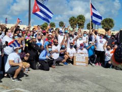 Florida caravan against U.S. blockade on Cuba.