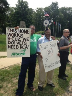 Rally against privatization of Grand Rapids Home for Veterans.