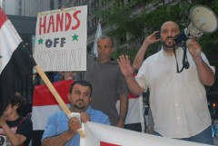 Hatem Abudayyeh speaking at Aug. 29 rally against U.S. military attack on Syria.